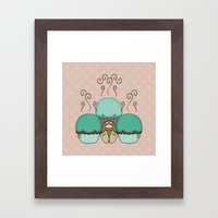 Cute Monster With Cyan And Orange Frosted Cupcakes Framed Art Print