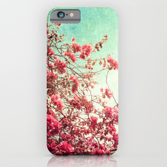 Pink Flowers on a Textured Blue Sky (Vintage Flower Photography) iPhone & iPod Case