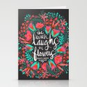 The Earth Laughs in Flowers – Pink & Charcoal Stationery Cards