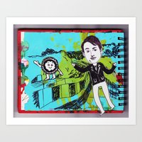 David Mitchell With Pizza Art Print