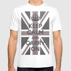 Keep Calm and Carry On UK - Purple/Grey Mens Fitted Tee SMALL White
