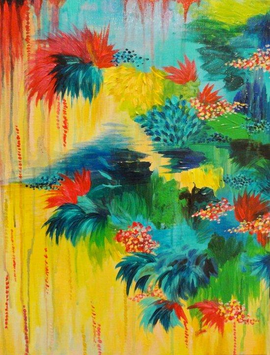 PARADISE WAITS - Beautiful Colorful Tropical Abstract Acrylic Painting Crimson Kelly Green Lagoon Art Print