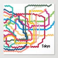 Tokyo Subway Map Square Canvas Print
