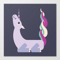 Letter U // Animal Alphabet // Unicorn Canvas Print