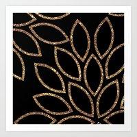 gold glitter leaves on black Art Print