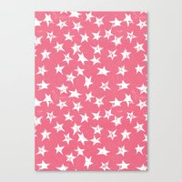Linocut Stars- Blush & White Canvas Print