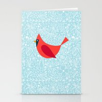 Cardinal Flowers, Carolina Blue Stationery Cards