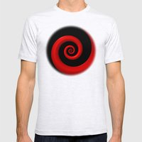 Red Spiral on Black Background Mens Fitted Tee Ash Grey SMALL