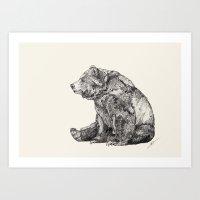 patterns Art Prints featuring Bear // Graphite by Sandra Dieckmann