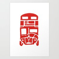 Red bus in London Art Print