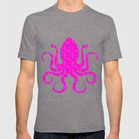 Pink Octopus Mens Fitted Tee Tri-Grey SMALL