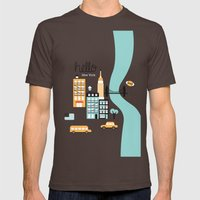 Hello New York - retro manhattan NYC icons illustration Mens Fitted Tee Brown SMALL