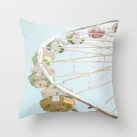 Pastel Ferris Wheel  Throw Pillow