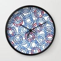 Blue Discs Wall Clock