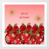 Merry Christmas - Red Art Print