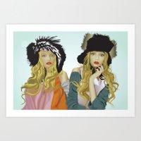 Red Lip Twins Art Print