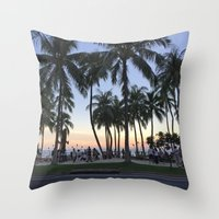 Sunset on Waikiki Throw Pillow