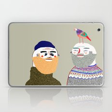 Friends and Bird. People illustration, funny, beard art, beard illustration, people,  Laptop & iPad Skin