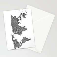 World Map Black and White Patterned  Stationery Cards