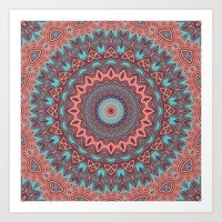Tribal Medallion Rust Art Print