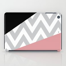 Coral & Black Chevron Block iPad Case