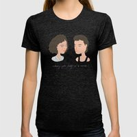 Dirty Dancing / Baby & J… Womens Fitted Tee Tri-Black SMALL
