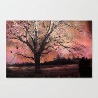 Surreal Trees Ravens Lan… Canvas Print