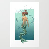 mermaid Art Prints featuring Mermaid by Eric Persson
