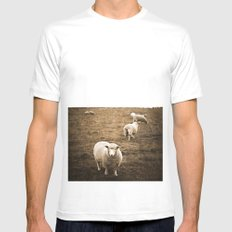 Sheep in a field Mens Fitted Tee SMALL White