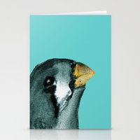 Zebra Finch - Teal Stationery Cards
