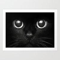 black cat Art Prints featuring Black Cat by Maioriz Home