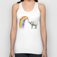 Baby Elephant Spraying Rainbow Whimsical Animals Unisex Tank Top
