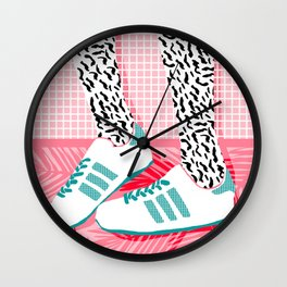 Wall Clock - Aiight - sports fashion retro throwback style 1980s neon palm springs socal country club hipster - Wacka