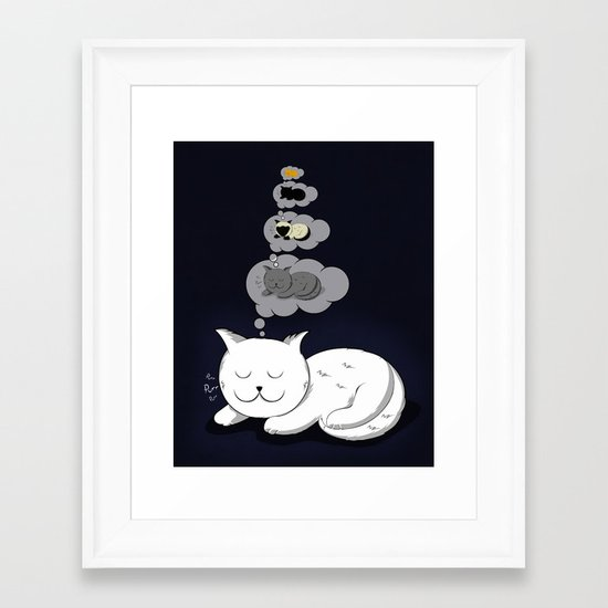 A cat dreaming of a cat that dreams of dreaming of a cat that dreams of dreaming of a cat. Framed Art Print