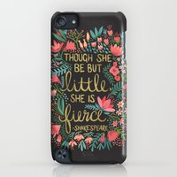 iPod Touch Cases featuring Little & Fierce on Charcoal by Cat Coquillette