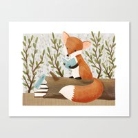 The Bookish Forest: Fox Canvas Print