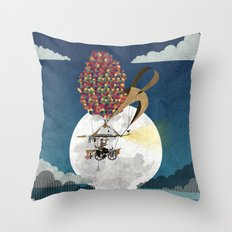 Flying Bicycle Throw Pillow