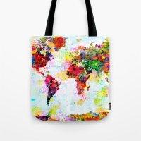 Abstract World Splatter Map Tote Bag