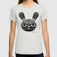 Day Of The Dead Bunny Womens Fitted Tee Silver SMALL