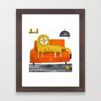 SOFA LION Framed Art Print