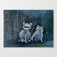Rambling Raccoons Midni… Canvas Print