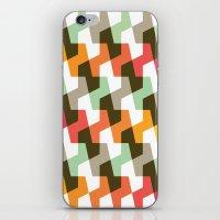 Mint green, orange & red pattern iPhone & iPod Skin