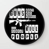 Guns Don't Kill People - People Kill People (inverse) Wall Clock