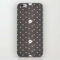 Grey Polka Dot Button Up iPhone & iPod Skin