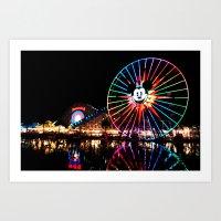 Paradise Pier At Night Art Print