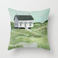 Cottage On The Beach Throw Pillow