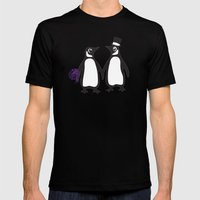 Wedding Penguins Mens Fitted Tee Black SMALL