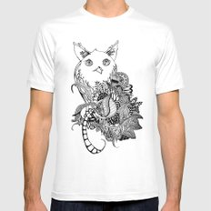 Inking Owl White Mens Fitted Tee SMALL