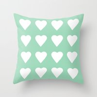 16 Hearts Mint Throw Pillow
