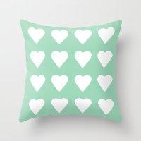 16 Hearts Mint Throw Pillow